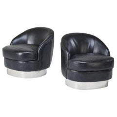 Leather and Chrome Club Chairs in the Style of Milo Baughman, circa 1990s