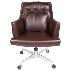 Leather and Chrome Executive Swivel Desk Chair by Dunbar, circa 1960s