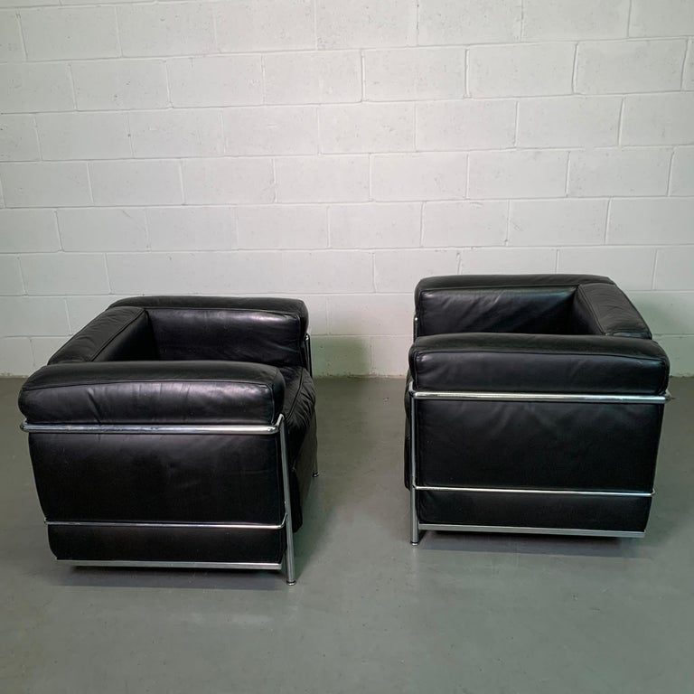 Leather and Chrome LC2 Club Chairs by Le Corbusier for Cassina For Sale 4