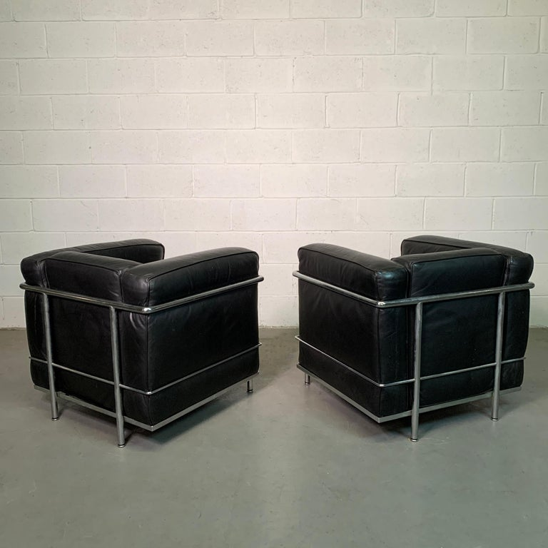 Leather and Chrome LC2 Club Chairs by Le Corbusier for Cassina For Sale 5