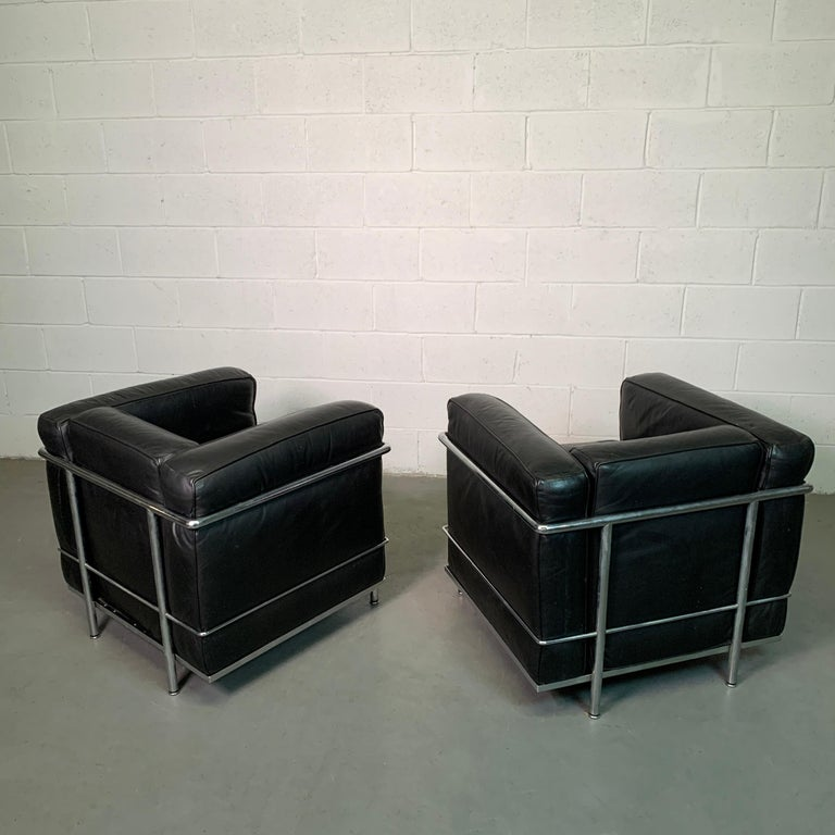 Leather and Chrome LC2 Club Chairs by Le Corbusier for Cassina For Sale 6