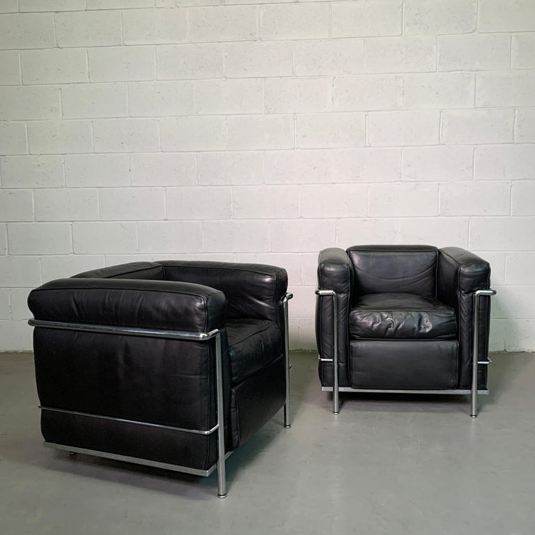 Italian Leather and Chrome LC2 Club Chairs by Le Corbusier for Cassina For Sale