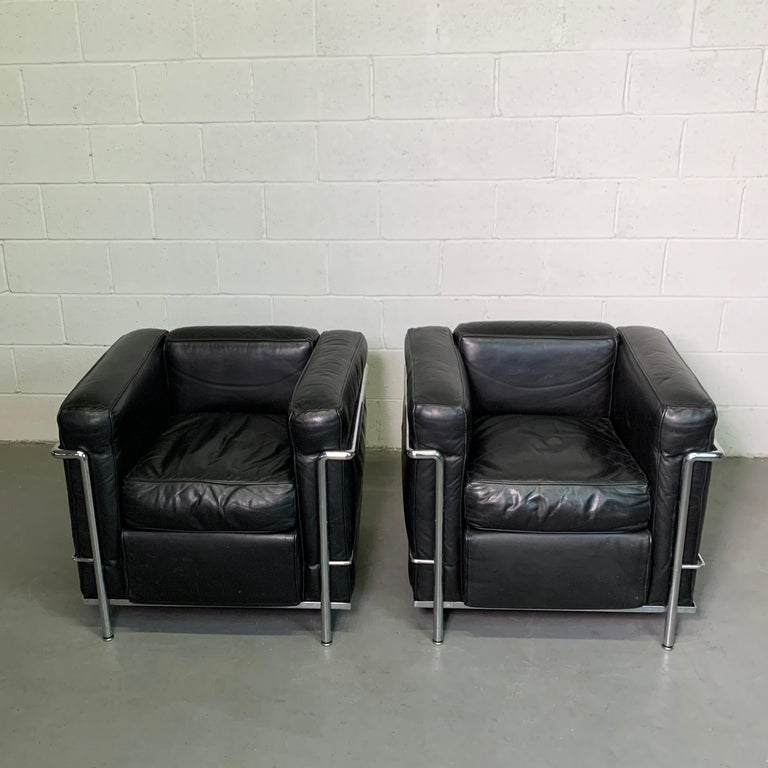 Leather and Chrome LC2 Club Chairs by Le Corbusier for Cassina For Sale 1