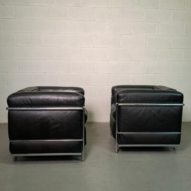 Leather and Chrome LC2 Club Chairs by Le Corbusier for Cassina For Sale 3