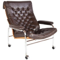 Leather and Chrome Lounge Chair 'Bore' by Noboru Nakamura, 1970s