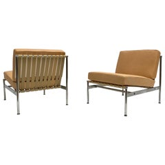 Leather and Chrome Lounge Chairs in the Style of Florence Knoll, 1960s, Pair