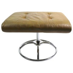 Leather and Chrome Ottoman by Plycraft