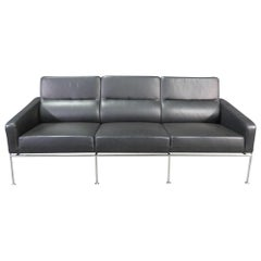 Leather and Chrome Sofa in the Style of Arne Jacobsen