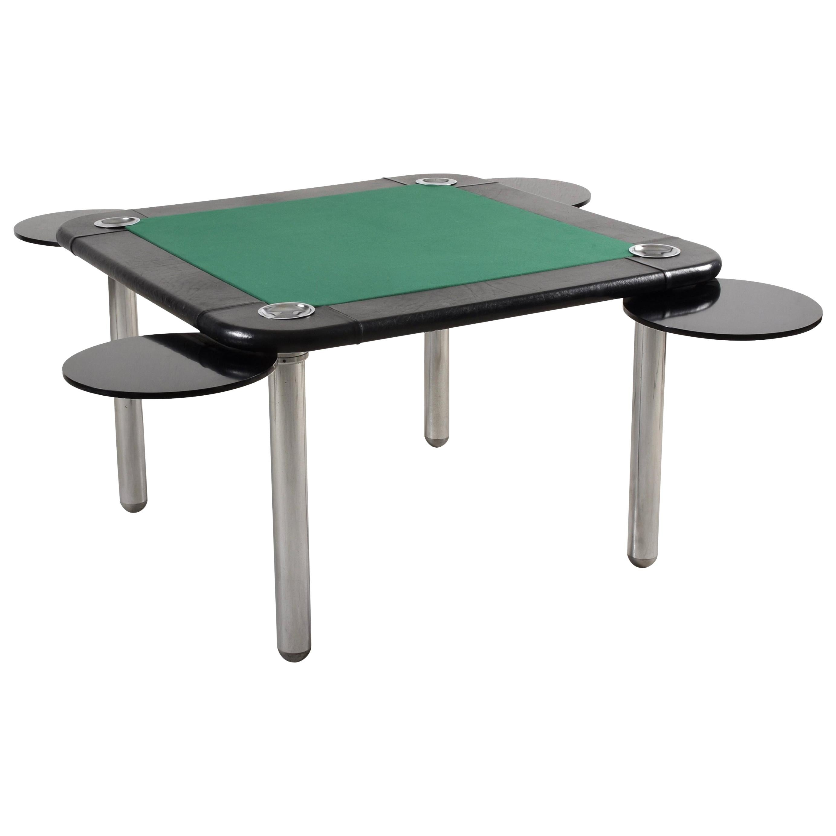 Leather and Chromed Steel Italian Game Table attributed to Zanotta, 1960s