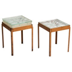 Leather and Glass Standing Side Table