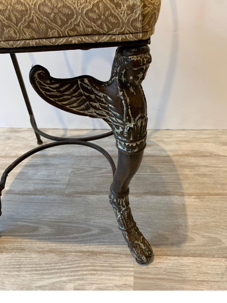 Leather and Iron Console Writing Desk with Chair For Sale 6