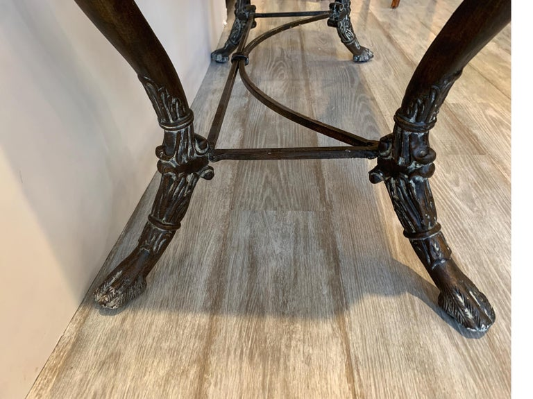 Leather and Iron Console Writing Desk with Chair For Sale 7
