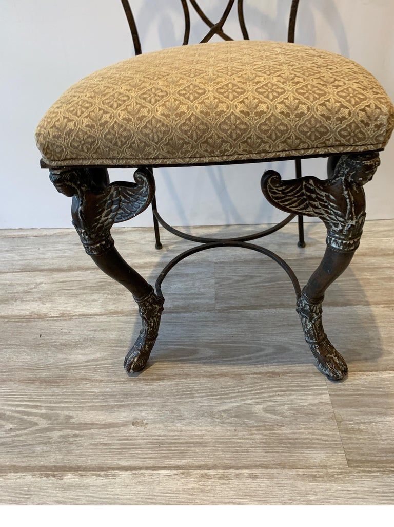 Leather and Iron Console Writing Desk with Chair For Sale 9