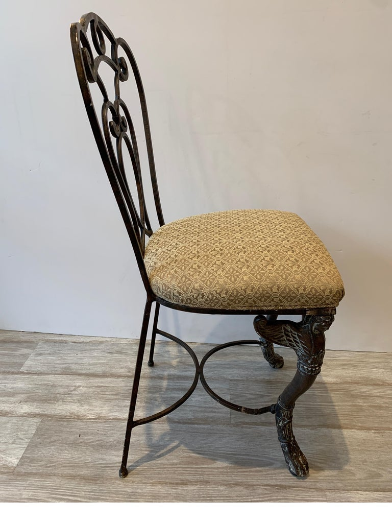Leather and Iron Console Writing Desk with Chair For Sale 11