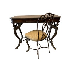 Leather and Iron Console Writing Desk with Chair