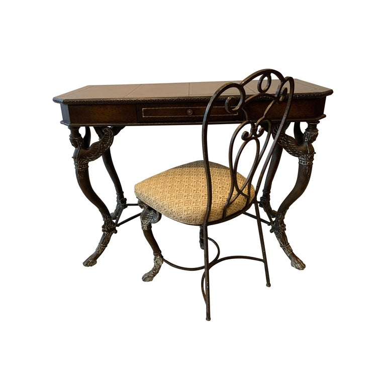 Leather and Iron Console Writing Desk with Chair For Sale