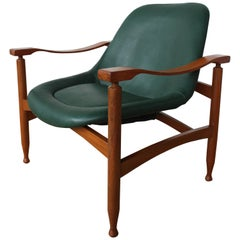 Leather and Mahogany Lounge Chair, Italy, 1960s