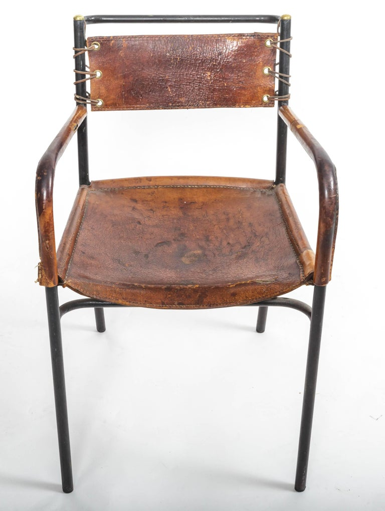 Leather and metal armchair.