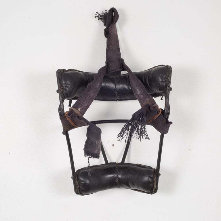 American Leather and Metal Catcher's Mask, c.1940 For Sale