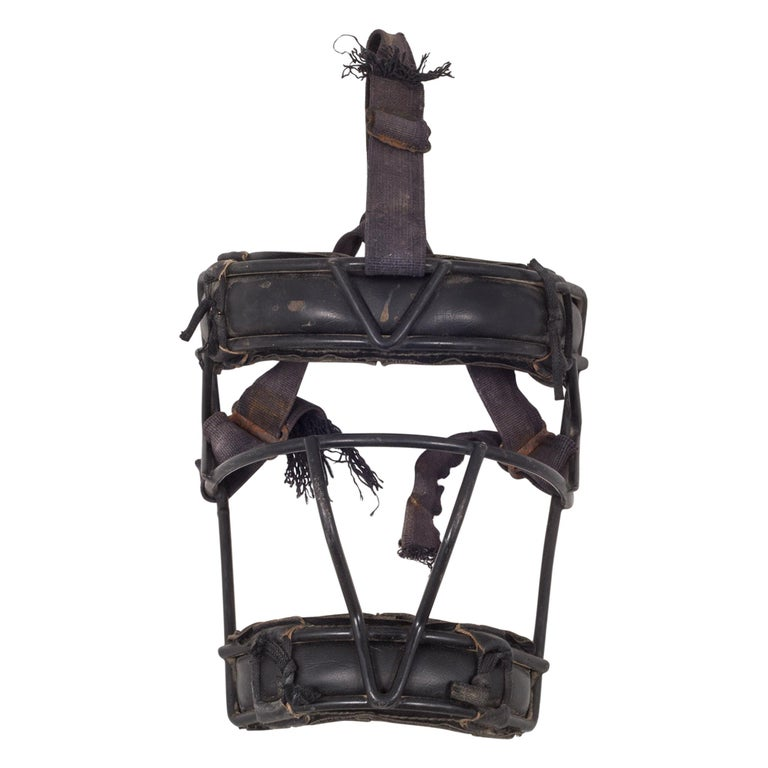 Leather and Metal Catcher's Mask, c.1940 For Sale