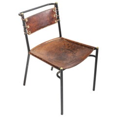 Leather and Metal Side Chair in the Style of Jacques Adnet, France, c. 1950s