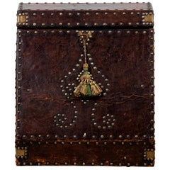Leather and Nail Head Decorated Letter Box from Spain