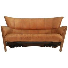 Leather and Palmwood Sofa by Pacific Green, circa 1980