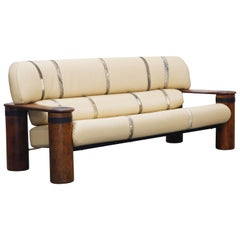 Leather and Palmwood Three-Seat Sofa by Pacific Green, circa 1990