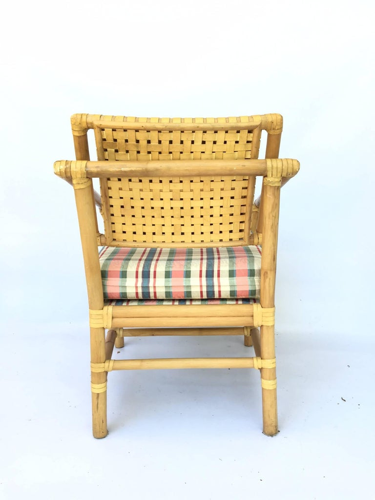 Leather And Rattan Bamboo Dining Armchairs In The Manner