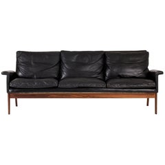 "Leather and Rosewood ""Jupiter"" Sofa by Finn Juhl"