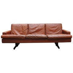 Leather and Rosewood Sofa by Fredrik A. Kayser, 1960