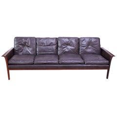 Leather and Rosewood Sofa Designed by Knut Sæter and Hans Olsen for Vatne Møbler