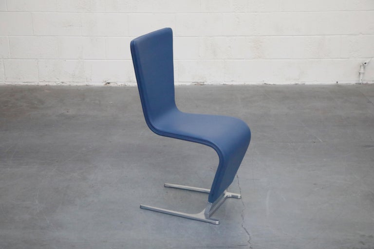 Contemporary Leather and Steel Dining Chairs by Roche Bobois, Signed  For Sale