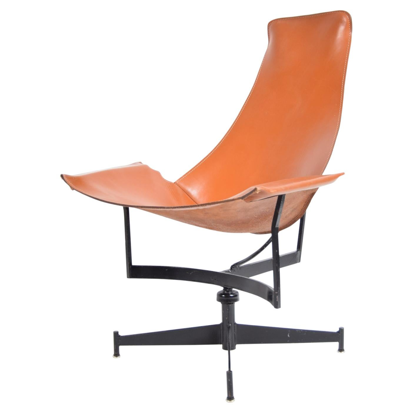 Leather and Steel Sling Chair by Max Gottschalk