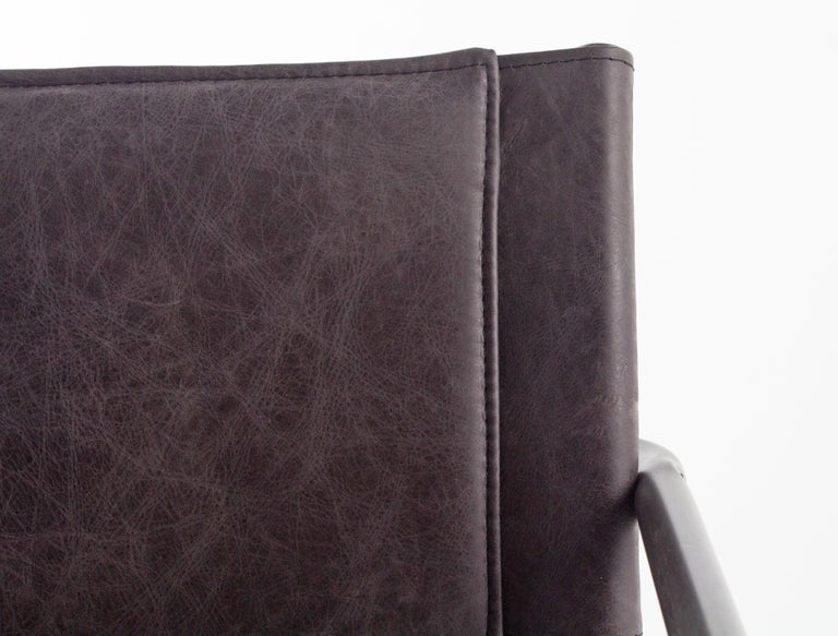 Modern Leather and Steel Sling Dining Chair For Sale