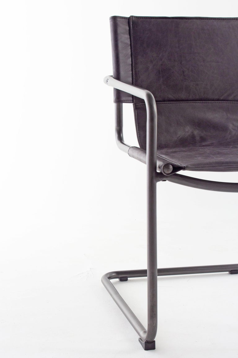 European Leather and Steel Sling Dining Chair For Sale