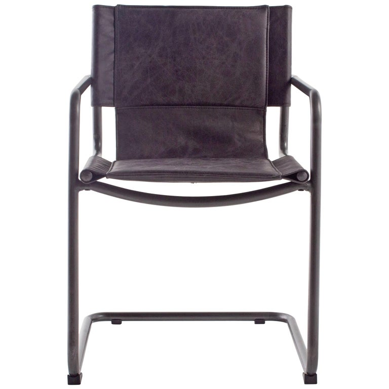 Leather and Steel Sling Dining Chair For Sale