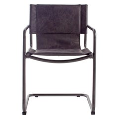 Leather and Steel Sling Dining Chair