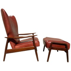 Leather and Teak Lounge Chair with Ottoman by K. Rasmussen for Peter Wessel