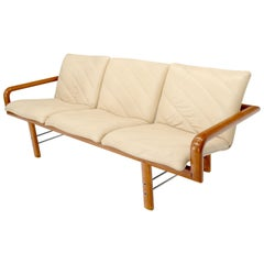 Leather and Teak Midcentury Danish Modern Floating Sofa