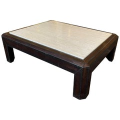 Leather and Travertine Cocktail Table