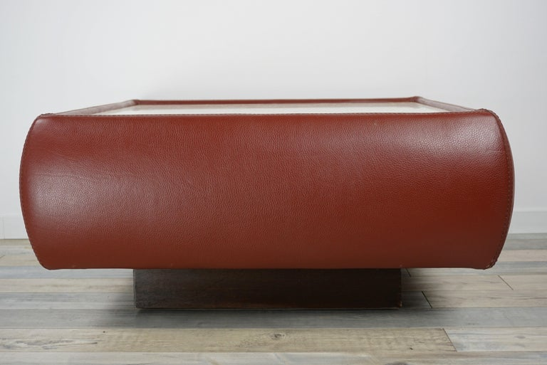 Leather and Travertine Square Coffee Table For Sale 3