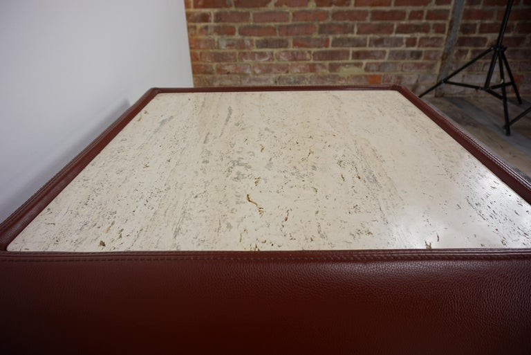 Leather and Travertine Square Coffee Table For Sale 5