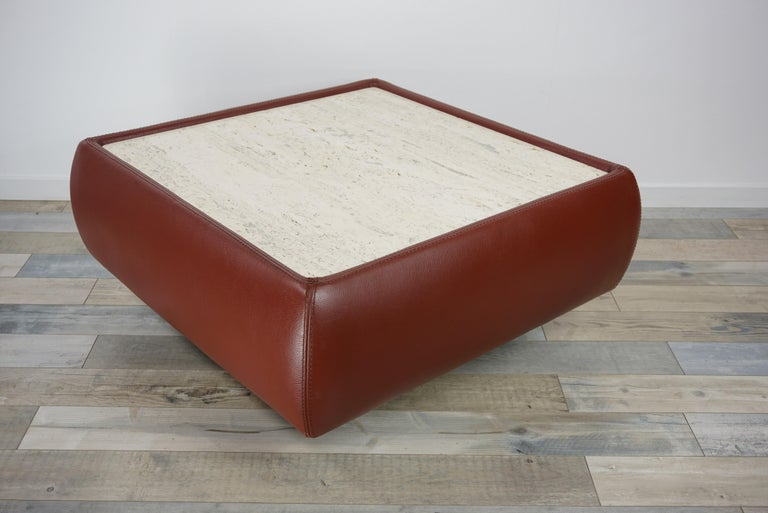 Laminate Leather and Travertine Square Coffee Table For Sale