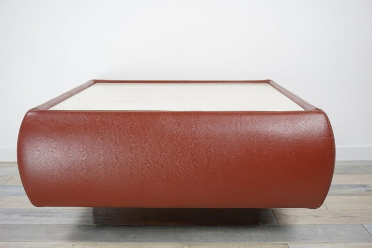 Leather and Travertine Square Coffee Table For Sale 1