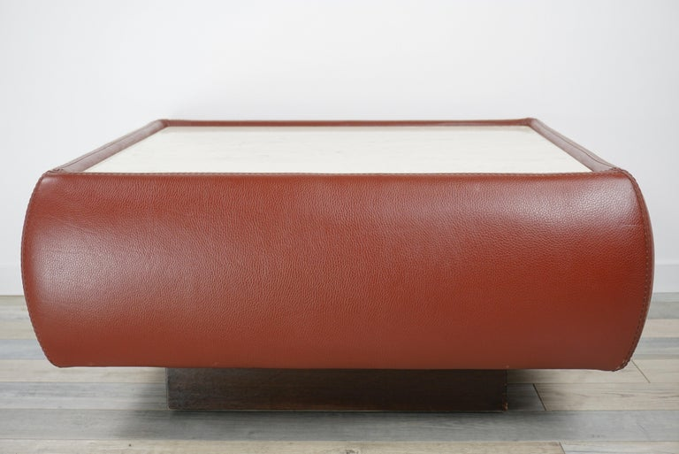 Leather and Travertine Square Coffee Table For Sale 2