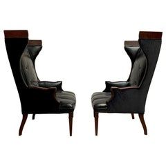 Leather and Velvet Wingback Chairs
