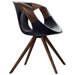 Leather and Walnut Contemporary Designer Dining Room Chairs, Up Chair