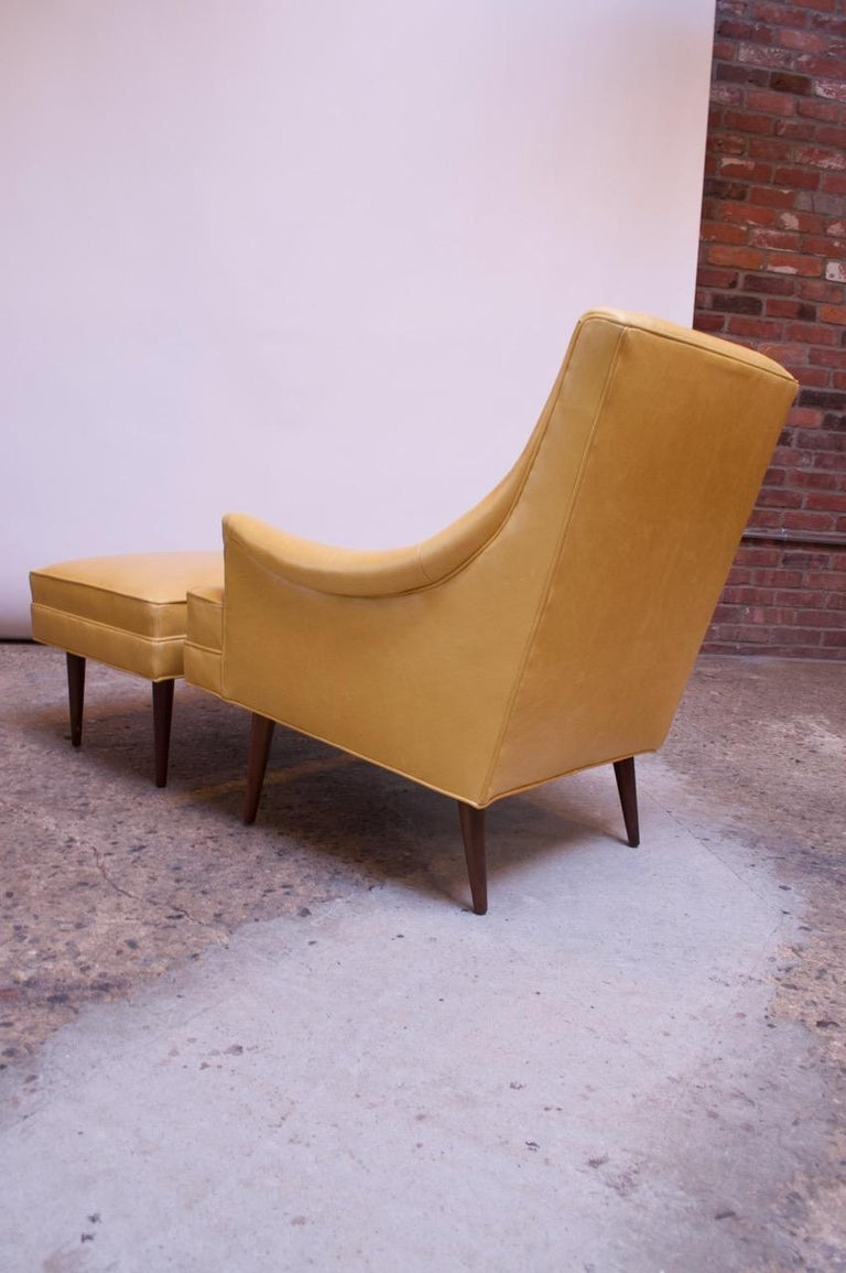 Leather and Walnut Milo Baughman for James Inc. Lounge Chair and Ottoman For Sale 4