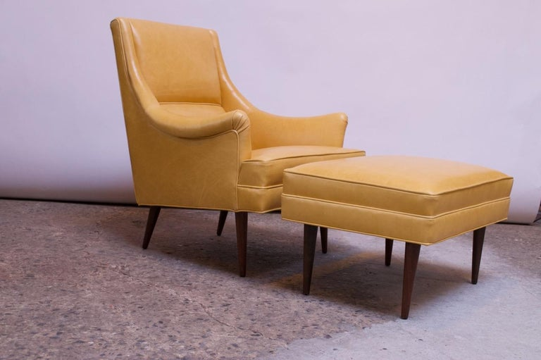 American Leather and Walnut Milo Baughman for James Inc. Lounge Chair and Ottoman For Sale